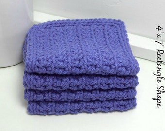 Cotton Crochet Dishcloths - Royal Blue Handmade Eco-Friendly Reusable Kitchen or Bathroom Cleaning Cloth - Set of 4
