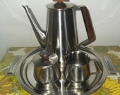 Mid Century Modern Coffee or Tea Set Rogers Insilco 18-8 Stainless Steel