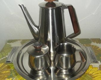 Mid Century Modern Coffee or Tea Set Rogers Insilco 18-8 Stainless Steel