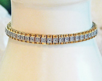 Oroamerica .925 silver and 12K gold vermeil diamond link bracelet