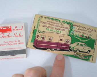 2 Travel Trailer Matchbooks Lot