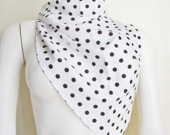 Vintage Triangular Polyester Headscarf Scarf White with Black Dots Spots 1980's Fashion