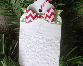 Christmas gift tags paper bows & embossed snowflake
