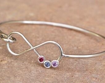 Mothers Day Gift, Infinity Bangle Bracelet, Infinity Birthstone Bracelet, Infinity Jewelry, Mothers Bracelet, Gift For Mom, Mothers Jewelry