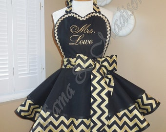 MamaMadison Custom Embroidered Woman's Retro Apron, Featuring Black & Gold Chevron Print Fabric...Plus Size Available
