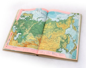 Vintage world map atlas from 70s