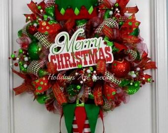 Elf Wreath, Christmas Wreath, Christmas Elf Wreath, Elf Hat and Legs Wreath, Merry Christmas Wreath, Deco Mesh Wreath, Handmade Hat and Legs