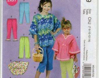 Pullover Top Pants With Elastic Waist Variations And Leggings Girls Size 7 8 10 12 14 Children's Sewing Pattern 2012 McCall's M6499