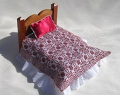 Dollhouse Coverlet Miniature Coverlet Handwoven in Wine Red Alternate Whig Rose Pattern for 12th Scale Dollhouse or Small Doll Bedding