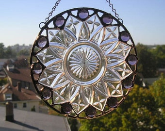 Stained Glass Suncatcher|Vintage Petal Plate|Federal Glass|Round Suncatcher|Amethyst Gems|Glass Art|Handcrafted|Made in USA