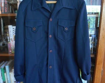 Vintage Sears Leisure Life Fashions man's leisure suit shirt jacket navy 1970's hipster polyester American Hustle retro poiinted collar: 40