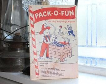 Vintage 1960s Pack-O-Fun Crafts Book Scrap Craft Magazine June July 1960