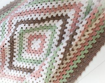Luxury Granny Square Baby Blanket - Merino/Cashmere Blend - Handmade, Crochet - Ready to Ship, UK Seller - gift, baby shower