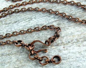 SUMMER SALE Solid Copper Chain with Handmade Clasp for Your Pendant 30inch