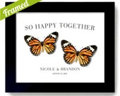 Happy Together Monarch Butterfly Art Framed Wedding Gift for Couple Parents Wedding Gift Unique Engagement Gift Personalized Art Print