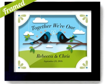 Lesbian Wedding Gay Wedding Spring Decor Lovebirds Art Tie the Knot Framed Wedding Gift Gay Couple Gift Personalized Art