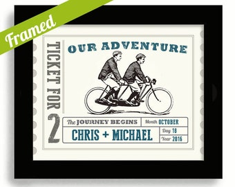 Mens Gay Wedding Gift Framed Wedding Art For Gay Couples Bicycle Art Personalized Wedding Gift Tandem Bicycle for Two Wedding Present