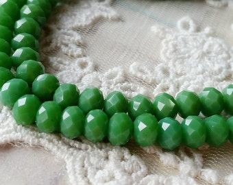 4 x 6 mm 48 Faceted Cut Rondelle Green Color Glass / Crystal / Lampwork Beads (.ma)