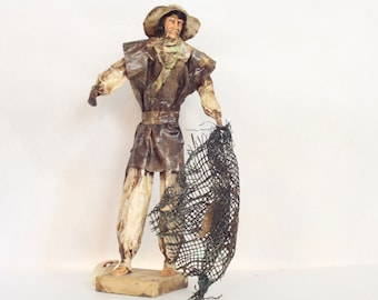 Vintage Mexican Paper Mache Folk Art Doll // Mexican Fisherman // Folk Art Figurines // Souvenir // Statues