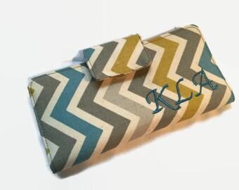 Handmade Checkbook Cover, Checkbook case, Chevron checkbook holder