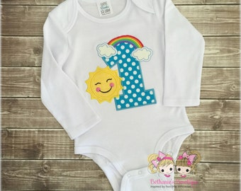Rainbow Sunshine Birthday Shirt, Custom Embroidery