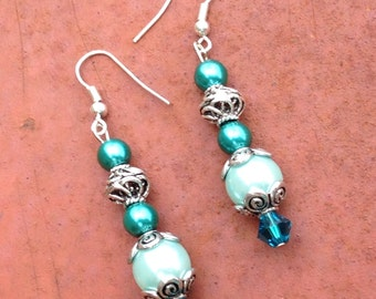 Aqua & Teal Pearl Drop Earrings