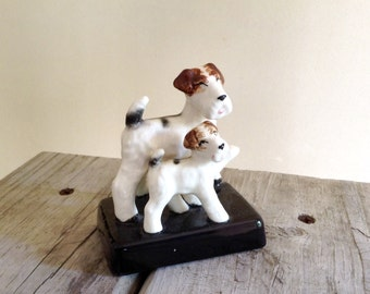 Dog Fox Terrier Pair Figurine - Traditional Home Decor