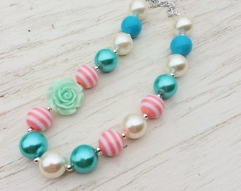little girl chunky bead necklace ivory coral mint green aqua blue bubble gum chunky baby necklace big girl necklace big bead necklace