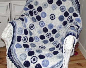 crochet Granny Square Afghan  Throw / blanket. new , vintage retro style Blues / white