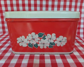 Vintage Bread Box -- Red, White and Green -- 1950's