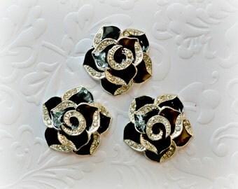 "Black Rose Cabochons. Black Rose Rhinestone Flat backs. 1"" Across. Set of 3."