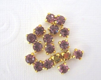 ON SALE Purple Sew on Rhinestones--Gold colored Setting -- 4MM-- Super Sparkly -- 20 Pcs