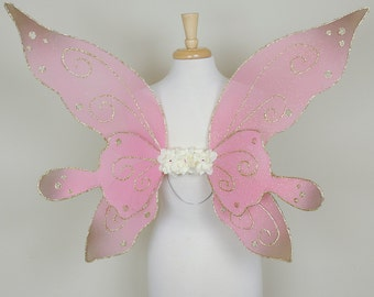 SALE Pink and gold fairy wings