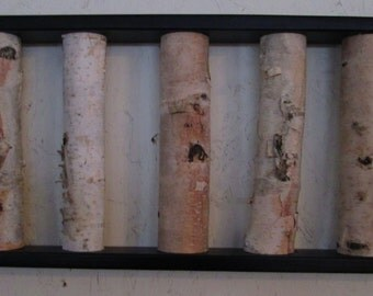 Birch Log Wall Hanging - Black and White,  Open Art, Rustic Art,Urban Rustic, Birch Logs, Birch Sticks