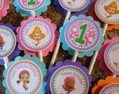 Bubble Guppies Cupcake Toppers-Bubble Guppies Topper-Bubble Guppies Birthday Decoration-Bubble Guppies Decoration-Girl's Bubble Guppies