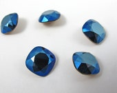 Vintage Swarovski Crystal Rounded Square, Metalic Blue, DIY Jewelry, Pressed Glass