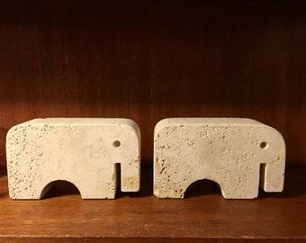 Modernist marble elephants . Fli Manelli Italy vintage designer traveltine bookends / sculpture art Pair 2pc
