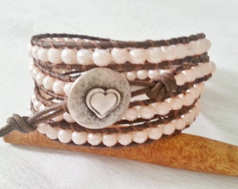 Romantic 4x wrap leather bracelet, vintage tan leather, textured moon surface, pink glass beads
