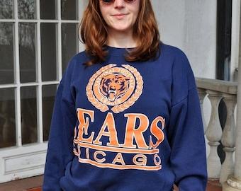ON SALE Vintage Navy and Orange Chicago Bears Crewneck Sweatshirt