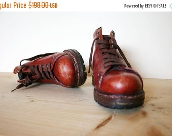 ON SALE Vintage Vibram Sole Mahogany Brown Leather Alpine Hiking Ankle Boots
