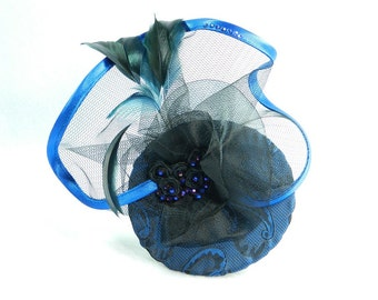 Fascinator dark blue Gothic Steampunk Lolita Headpiece Headdress Bibi Chapeau clubbing Damenhut Anlasshut Hut