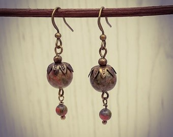 Unakite Gemstone Bronze Hook/Drop Earrings [E90]