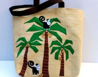 Bohemian Coconut tree jute bag, exotic tree hand applique funny monkeys, eye catching bag, summer beach tote bag, jungle effects animal