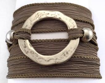 Hand Dyed Silk Ribbon, silk wrap bracelet, Eco friendly, yoga jewelry, zamak, handmade bracelet, yoga ribbon