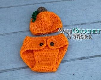 Newborn Crochet Pumpkin Hat & Diaper Cover Set