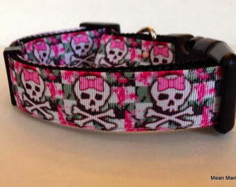 Skull Collar Adjustable Dog Collar Pink Skulls