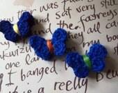 Blue Crochet Butterfly Appliques. Crochet Butterflies. Set of 10.
