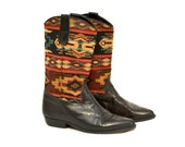 Vintage Tapestry Boots / Flat Midcalf Southwestern Fabric Leather Boots 7.5