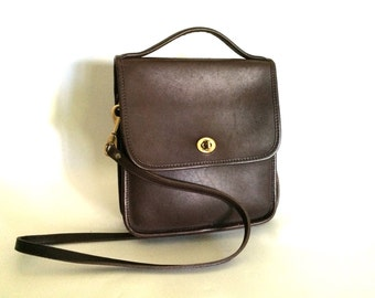 Vintage Turnlock Crossbody Bag - Leather - Espresso Brown