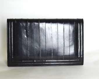 Vintage 70s Black Eelskin Clutch Bag